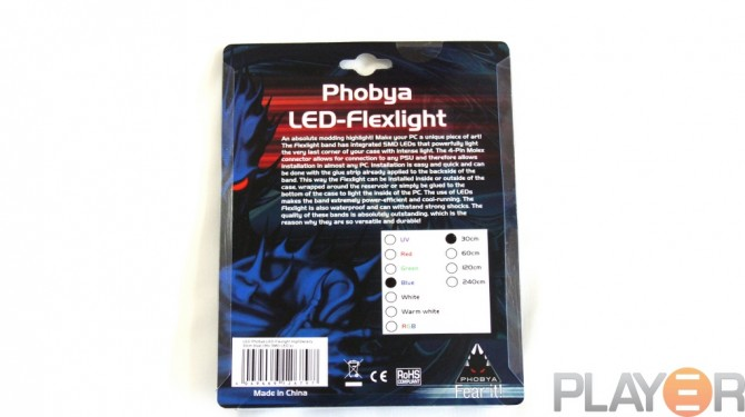 Phobya 30cm Blue LED-flexlight Packaging Back