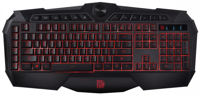 Tt eSPORTS CHALLENGER Prime gaming keyboard _ top-view_RED
