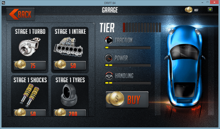 Screenshot of the garage, where you can customize your cars