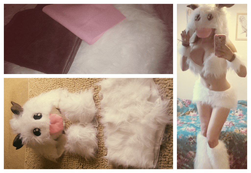 From bundle of fabric to outfit. My finished Poro cosplay, complete with practise pose in front of the mirror!