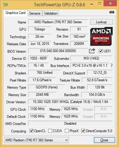 MSI R7 360 GPU-Z Stock